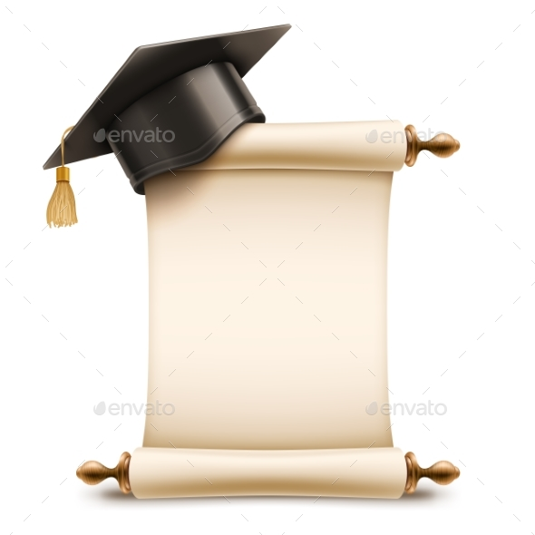 Graduation Cap on Diploma Scroll - Miscellaneous Vectors