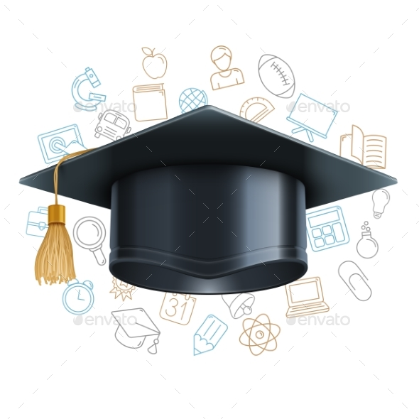 Graduation Cap and Education Symbols - Miscellaneous Vectors