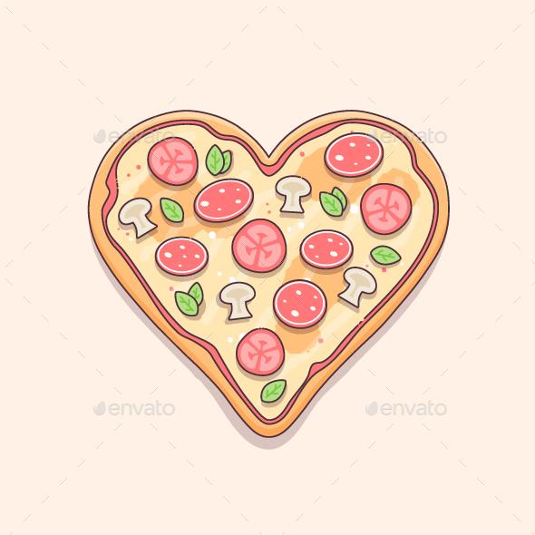 I Heart Pizza - Food Objects