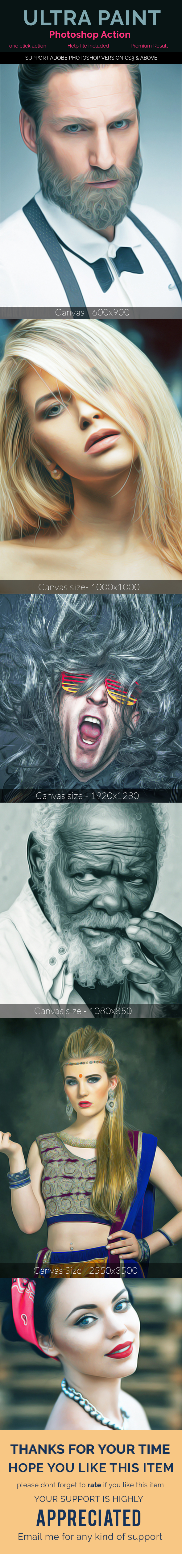Realistic Painting Effect - Photoshop Action - Photo Effects Actions