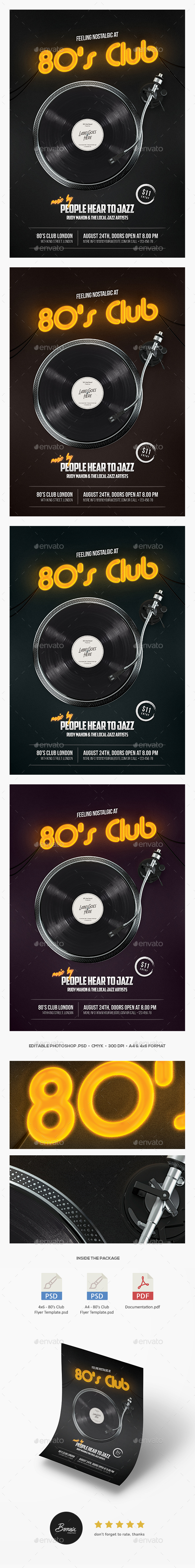 80s Club Flyer - Clubs & Parties Events