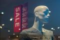 Shopping mall boutique mannequin, male figure portrait