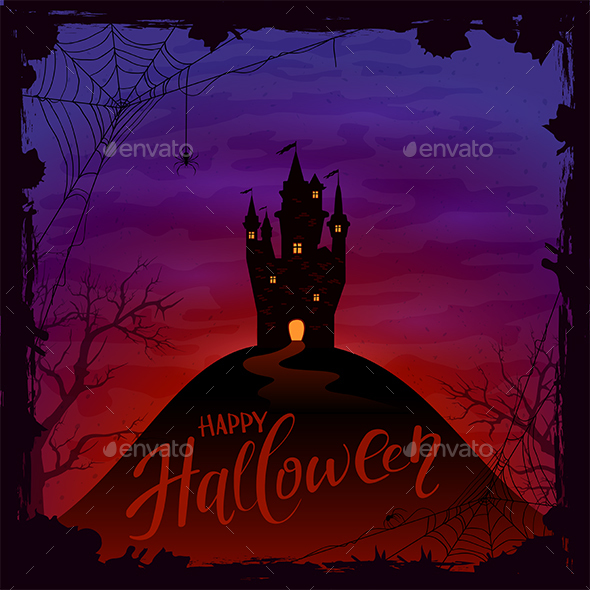Halloween Background with Castle and Spiders - Halloween Seasons/Holidays