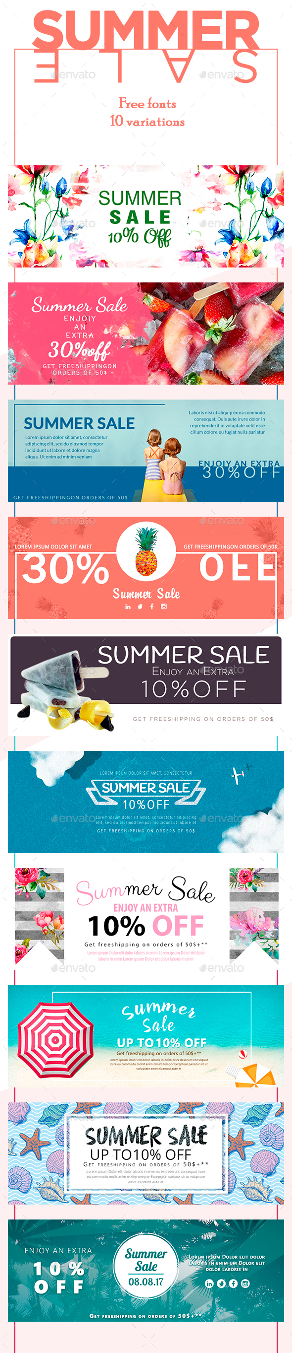 Sale Summer Banners - Banners & Ads Web Elements