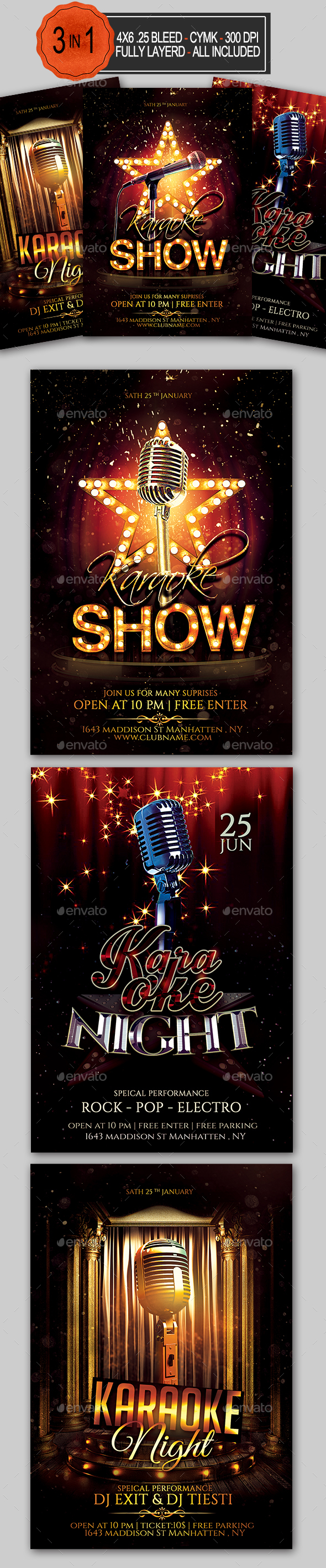 GraphicRiver Karaoke Flyer Bundle 20418975