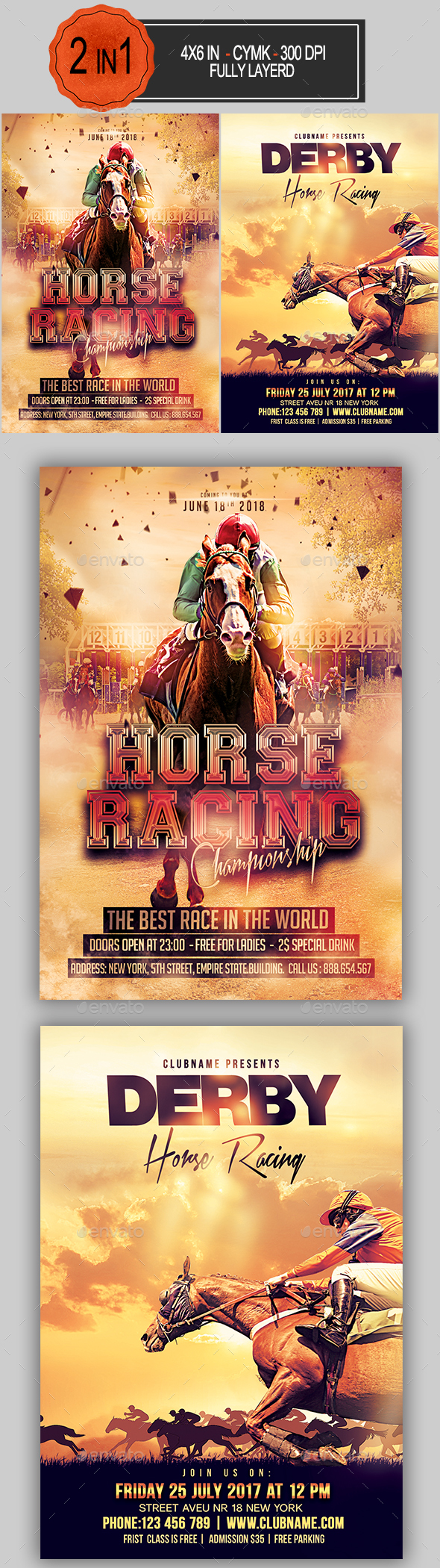 Horse Racing Flyer Bundle - Sports Events