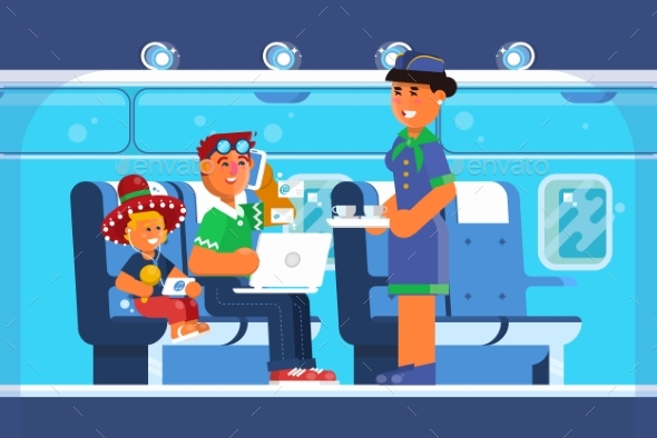Family Happy on Airplane - Travel Conceptual
