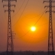Sunrise on a Background of a High-voltage Line - VideoHive Item for Sale