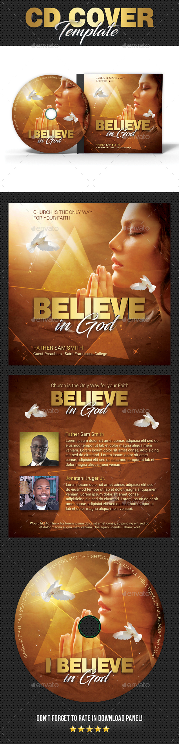 Believe in God CD Cover - CD & DVD Artwork Print Templates