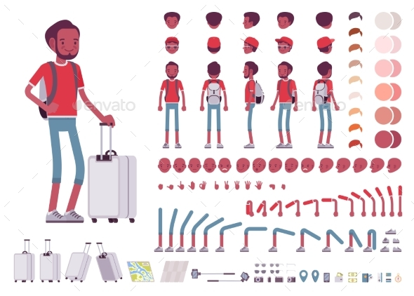 Male Tourist with Trip Luggage - Travel Conceptual
