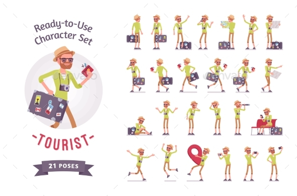 Tourist Man with Luggage Character Set - Travel Conceptual