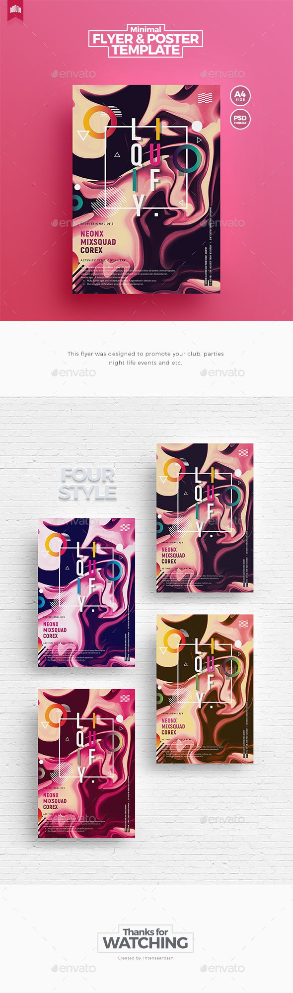 Minimal A4 Flyer Template V.6 - Clubs & Parties Events