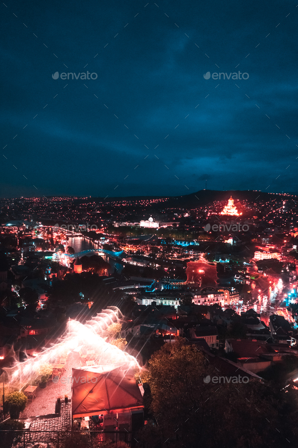 Big old city at night, Tbilisi - Stock Photo - Images