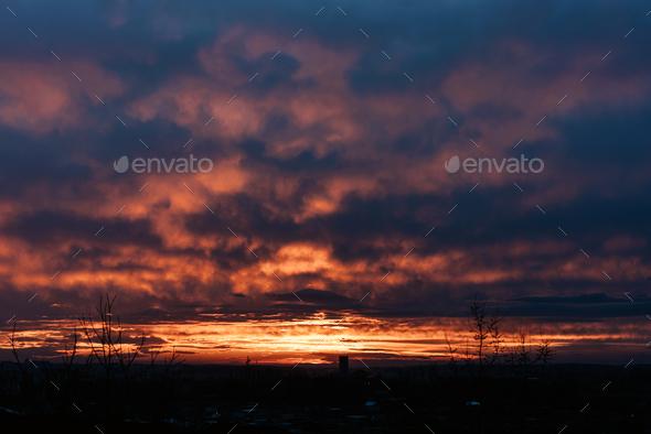 Sunset sky background. - Stock Photo - Images