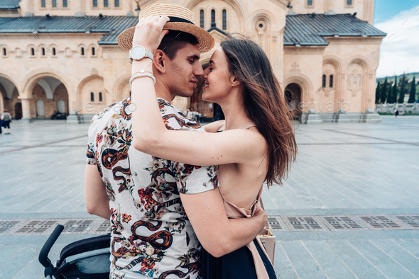 Young couple in love, hugging on the street. - Stock Photo - Images