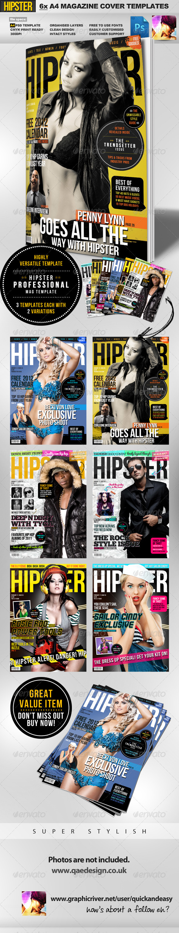 Hipster A4 Magazine Cover Templates - Magazines Print Templates