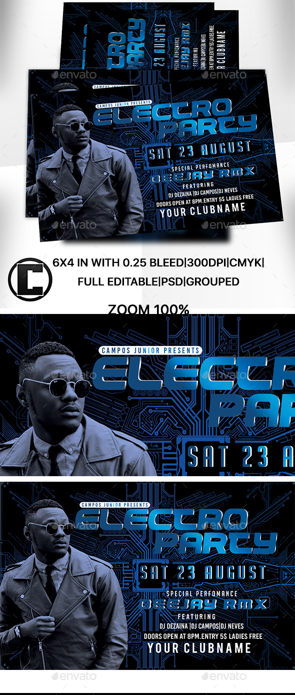 Electro Party - Flyer Template - Clubs & Parties Events