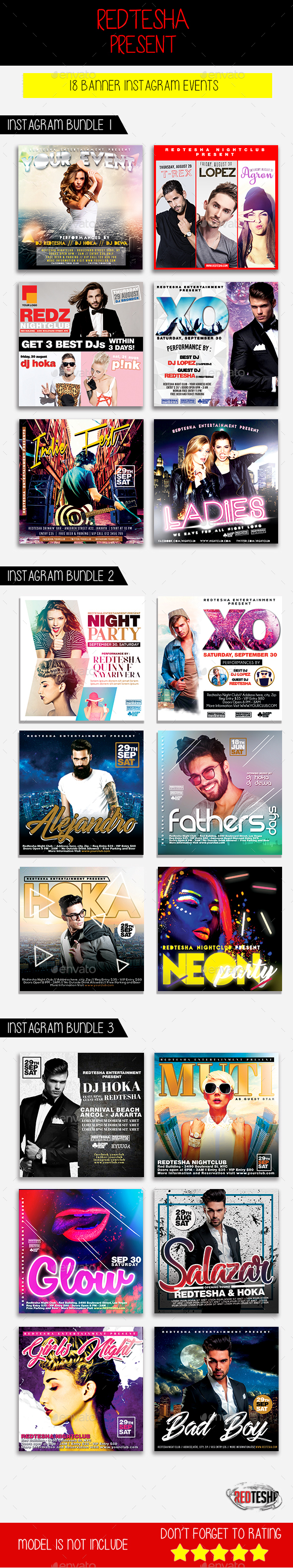 Instagram Banner Events Bundle - Banners & Ads Web Elements