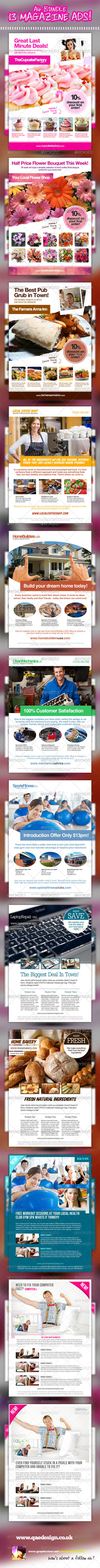 Mega Bundle - 13x A4 Magazine Ads - Magazines Print Templates