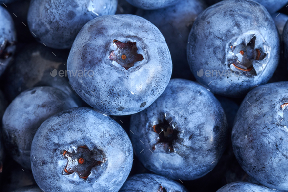 Extreme close up picture of ripe and fresh blueberries