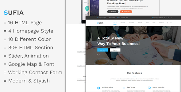 Sufia - Corporate, App landing page & Personal  HTML5  Template