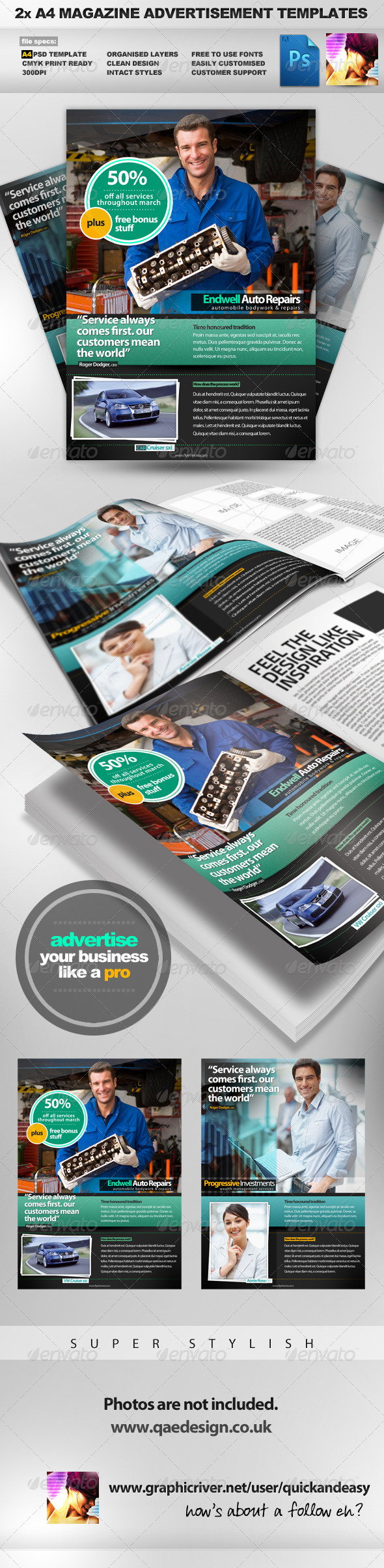 2x A4 PSD Magazine Advertisement Templates - Magazines Print Templates