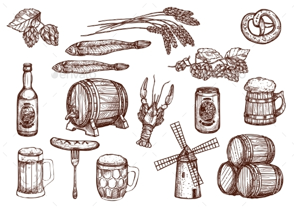 Vector Sketch Icons of Beer Snacks and Brewery - Food Objects