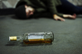 Homeless Alcoholism Drunk Man Sleeping on The Floor