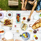 Aerial view of diverse friends gathering having food together - PhotoDune Item for Sale