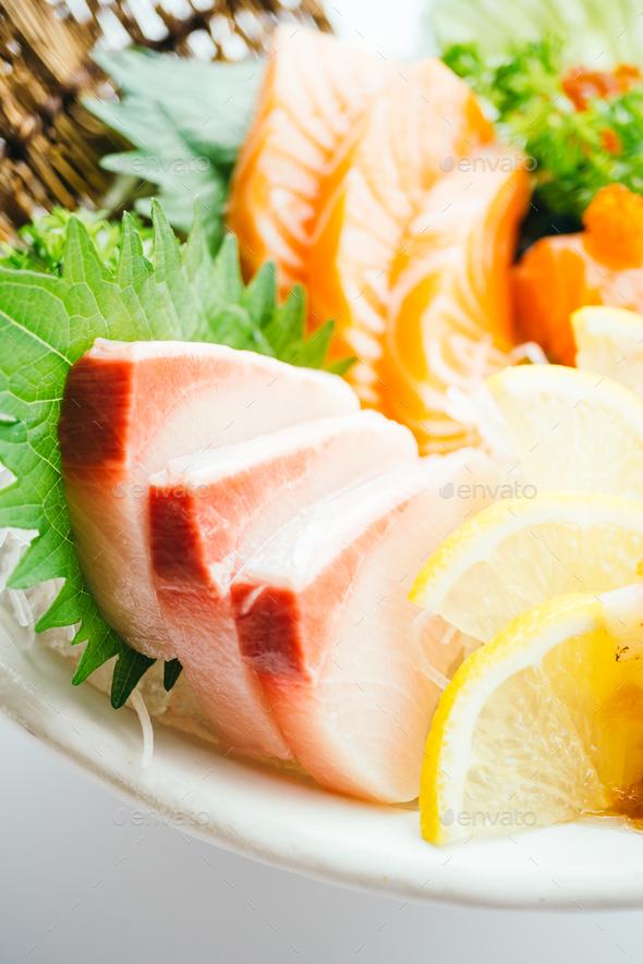 Raw and fresh mixed sashimi with salmon , tuna , hamaji and othe - Stock Photo - Images