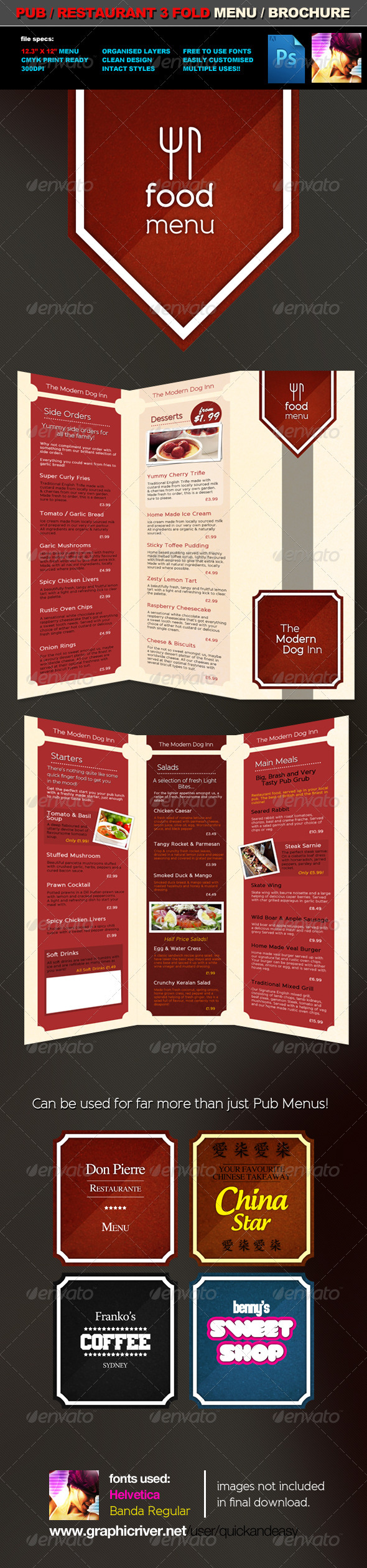 3 Fold Pub Food Menu / Brochure Template - Food Menus Print Templates