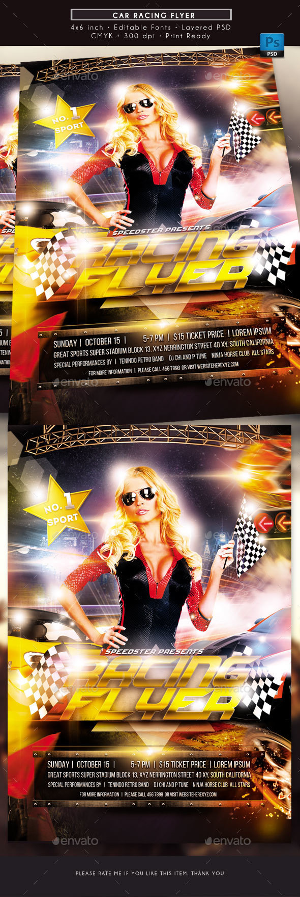 Car Racing Flyer - Sports Events