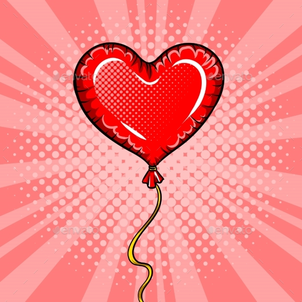 Heart Shape Balloon Pop Art Vector Illustration - Backgrounds Decorative