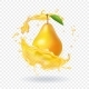 Fresh Pear Juice Fruit Realistic Icon Illustration