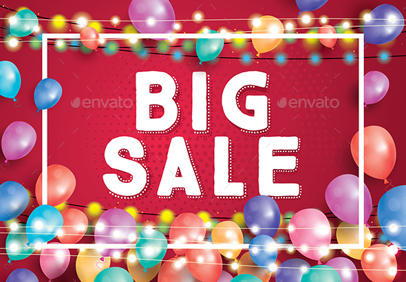 GraphicRiver Big Sale Poster on Red Background with Balloons 20422497