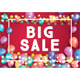 Big Sale Poster on Red Background with Balloons