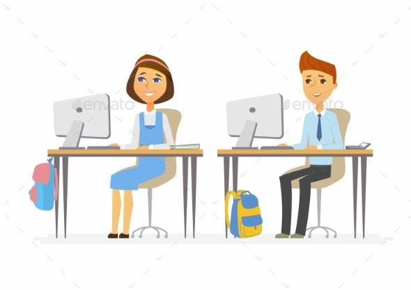 Computer Studies Senior School Children - People Characters