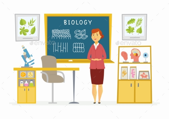 GraphicRiver Biology Classroom Female Teacher Composition 20422508