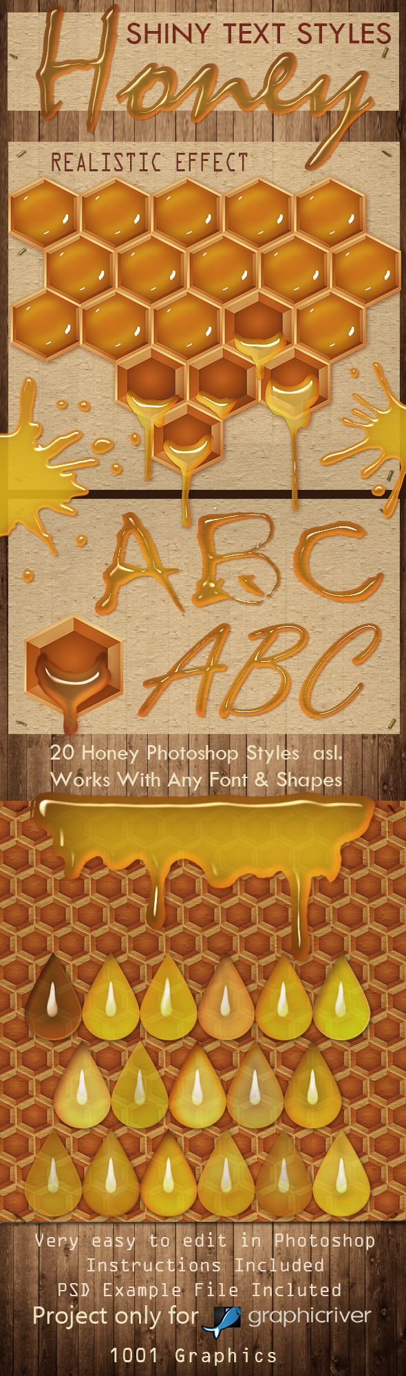 GraphicRiver 30 HoneyText Effect PS Styles asl.- Full Pack 20422546