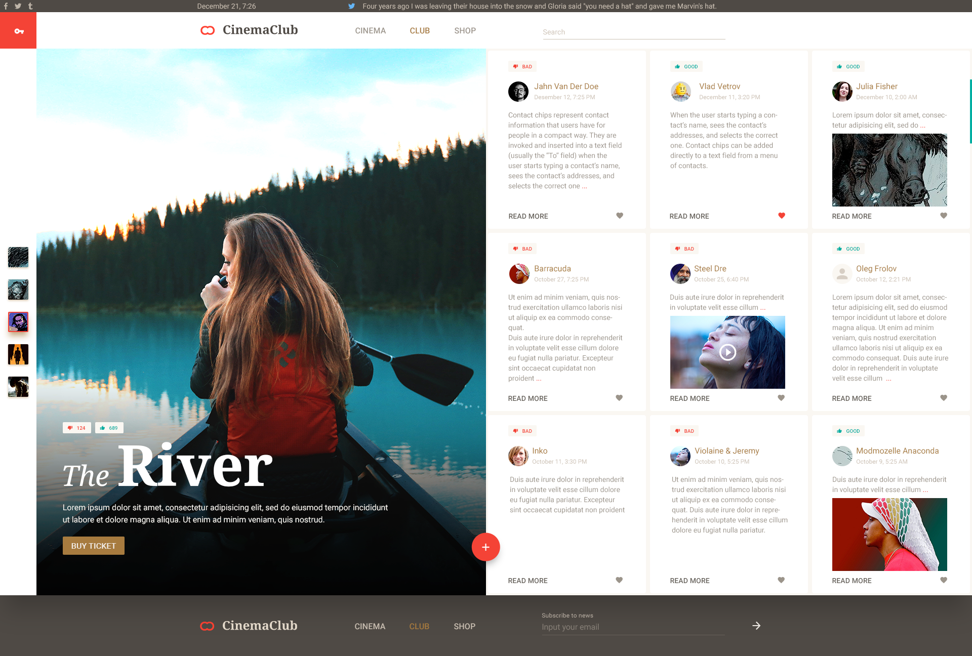 Cinemaclub Material Design Based Psd Template For Cinema By Yask
