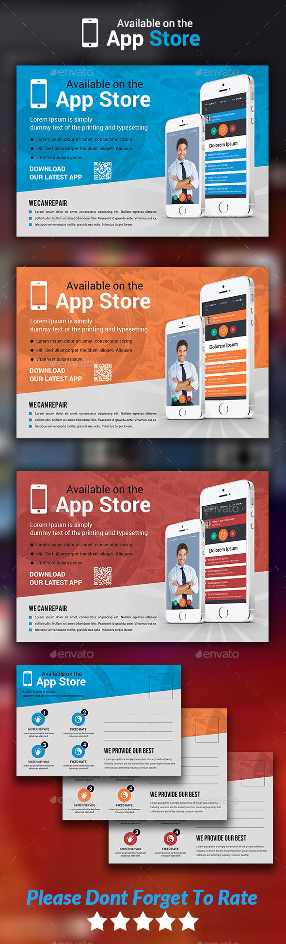 Mobile App Postcard Templates - Cards & Invites Print Templates