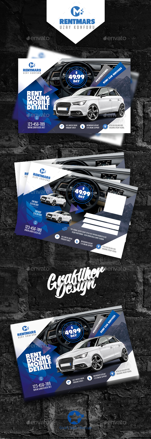 Rent A Car Postcard Templates - Signage Print Templates