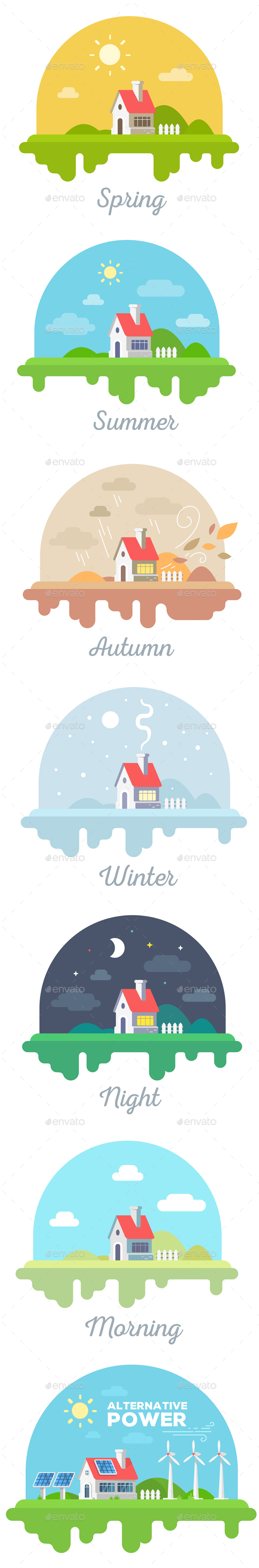 GraphicRiver All Season Rural House and Alternative Energy Sources 20423028