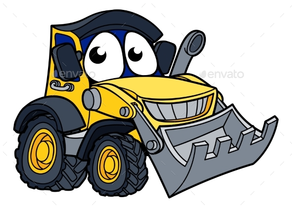Digger Bulldozer Cartoon Mascot - Miscellaneous Characters