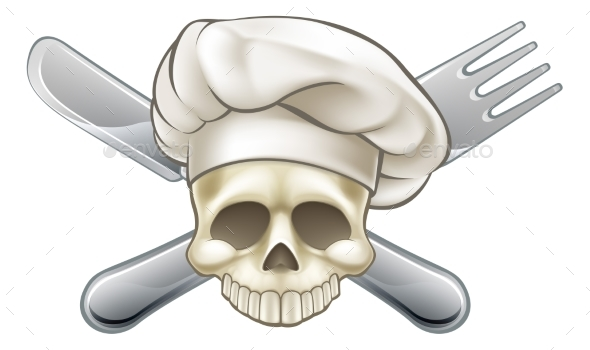 Skull and Crossbones Chef - Miscellaneous Vectors