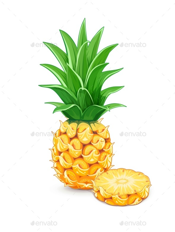 Pineapple with Green Leaf - Food Objects