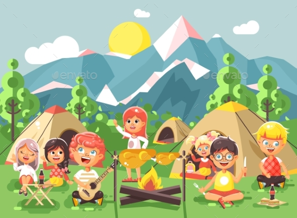 GraphicRiver Cartoon Children Characters Camping 20423219