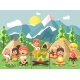Cartoon Children Characters Camping