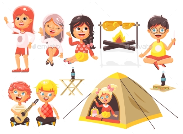 Vector Illustration Isolated Cartoon Characters - Sports/Activity Conceptual