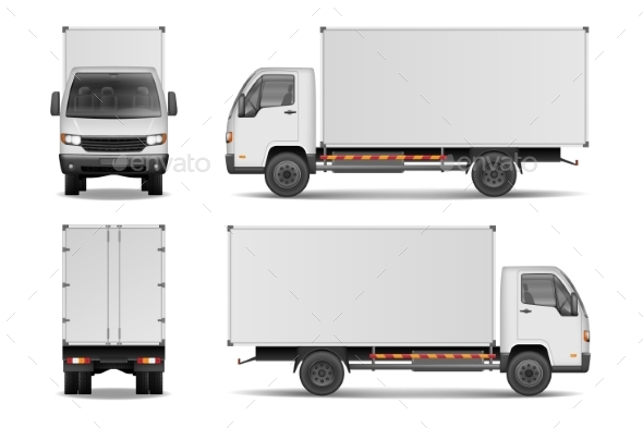 White Realistic Delivery Cargo Truck - Man-made Objects Objects